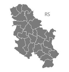 Serbia regions map grey vector