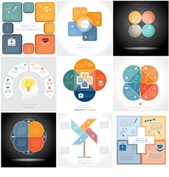 Set 9 templates Infographics four positions vector image