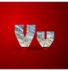 set of aluminum or silver foil letters Letter V vector image