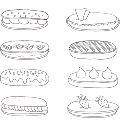Set of the delicious eclairs vector
