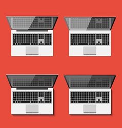 Set of the detailed laptops with shadows vector image