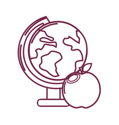 Silhouette earth plenet desk with apple fruit vector