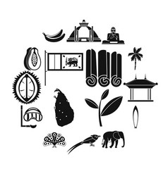 sri lanka travel icons set simple style vector image