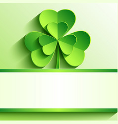 St Patricks card with green clover vector