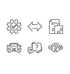 Strategy sync and car icons set question mark vector