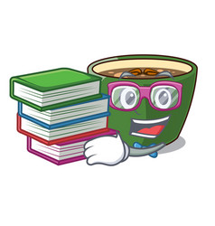 Student with book indian masala tea isolated on vector