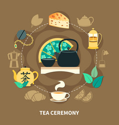 Tea ceremony round composition vector