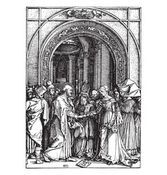 The marriage of joseph and mary is part of a vector