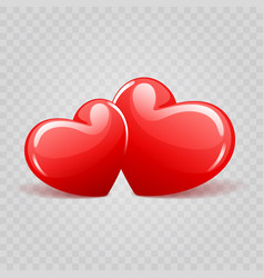 two red shiny hearts shapes isolated on vector image