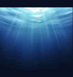 water surface blue ocean underworld with sun vector image