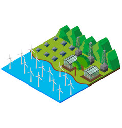 Wind turbines in the river vector