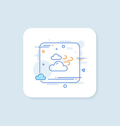 Windy weather line icon clouds with wind sign vector