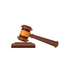 wooden judge gavel isometric 3d elements vector image
