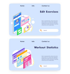 Workout statistics chart history exercise vector
