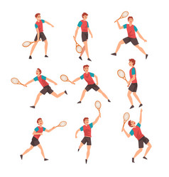 young man playing tennis set professional vector image