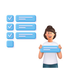 young woman jane holding a task sign standing vector image