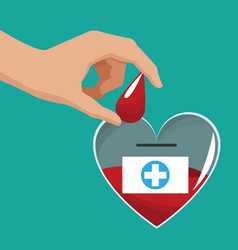 donate blood hand giving drop vector image