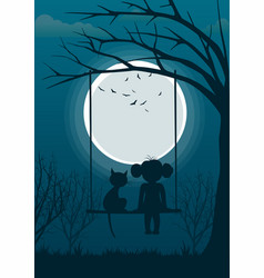 little girl with cat on tree swing over full moon vector image