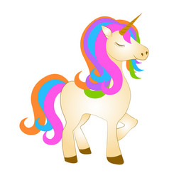 majestic cute unicorn cartoon character fantasy vector image