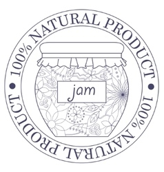 Natural product stamp with jam vector image