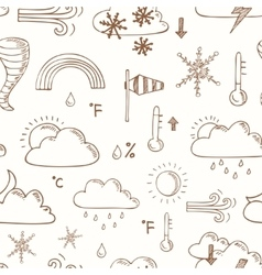 seamless pattern doodle sketch weather icons vector image vector image