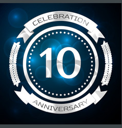 ten years anniversary celebration with silver ring vector image vector image