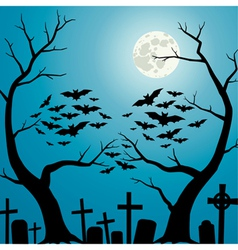 Cemetery blue vector image