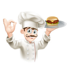 chef with burger vector image vector image