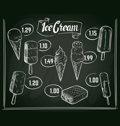 hand drawn ice cream menu design on vector image
