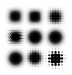 isolated black color abstract round shape halftone vector image vector image
