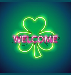 neon welcome in clover sign vector image