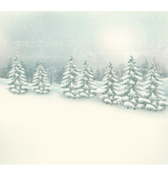 Retro Christmas winter landscape background vector image vector image