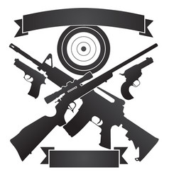 Rifles and pistols with target plus banners vector