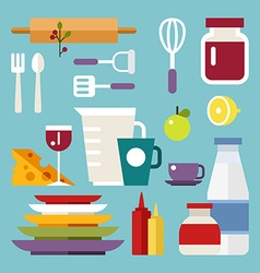 Set of Icons and in Flat Design Style Kitchen vector image