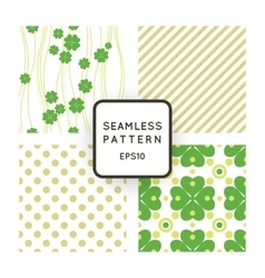 Set of seamless patterns with clovers vector image vector image