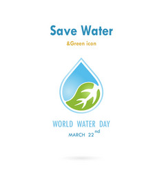 water drop with leaf icon logo design vector image