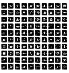 100 holidays icons set grunge style vector image