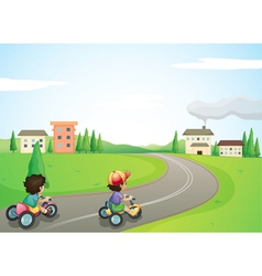 kids and road vector image vector image