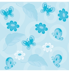 seamless flowers and butterflies blue vector image vector image
