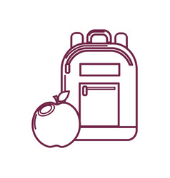 Silhouette bag study tool with apple fruit vector