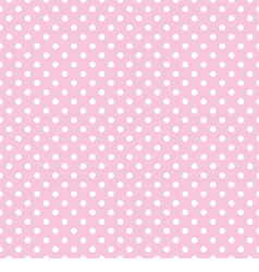 White polka dots on tile pink background pattern vector image