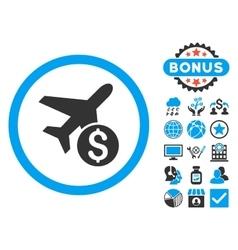 Airplane Price Flat Icon with Bonus vector image