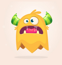 angry orange cartoon monster with horns vector image vector image