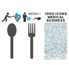 Fork and Spoon Icon with 1000 Medical Business vector image vector image