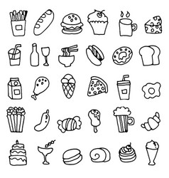 hand doodle drawn of food icons set vector image