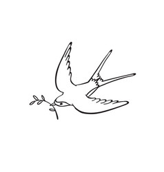 hand drawn bird vector image