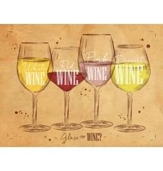 Poster types of wine kraft vector image vector image