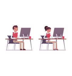 set of male and female office worker sitting at vector image vector image