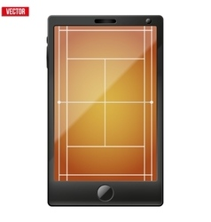 Smartphone with a tennis field on the screen vector