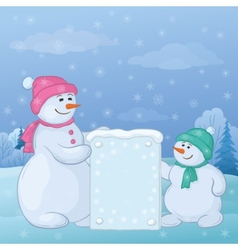 snowmen with sign vector image vector image